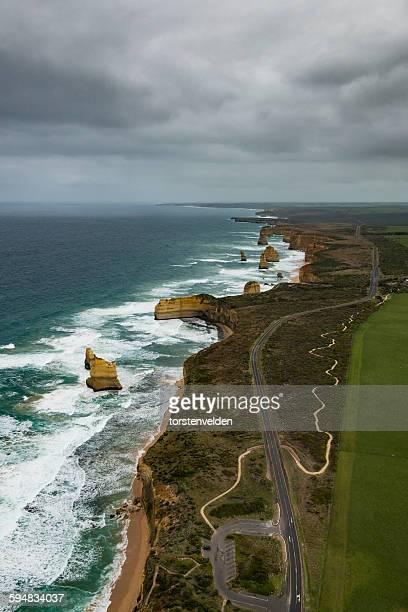 Aerial view of Great Ocean Road and Twelve Apostles, Australia