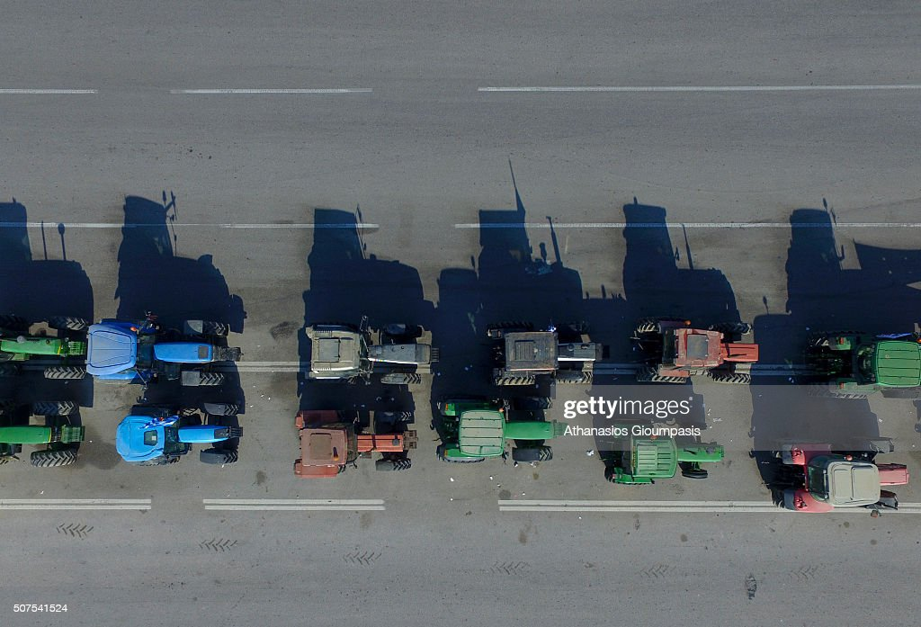 Aerial view of Greek farmers with their tractors during a protest against government's decision of increasing tax in the agriculture sector, in Thessaloniki , Greece on January 28, 2016.