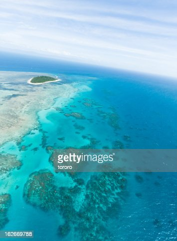 Aerial view of Green Island and Great Barrier Reef