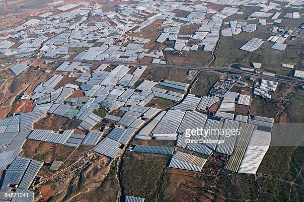 aerial view of greenhouses