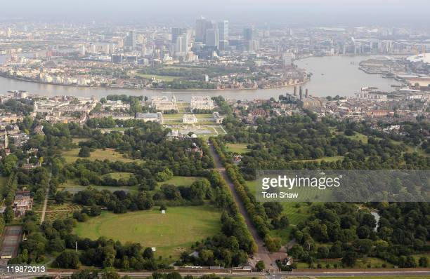 Aerial view of Greenwich Park which will host equestrian events during the London 2012 Olympic Games on July 26 2011 in London England