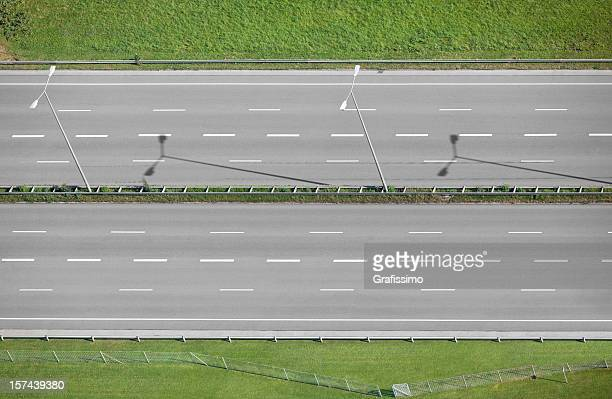 Aerial view of grey empty highway