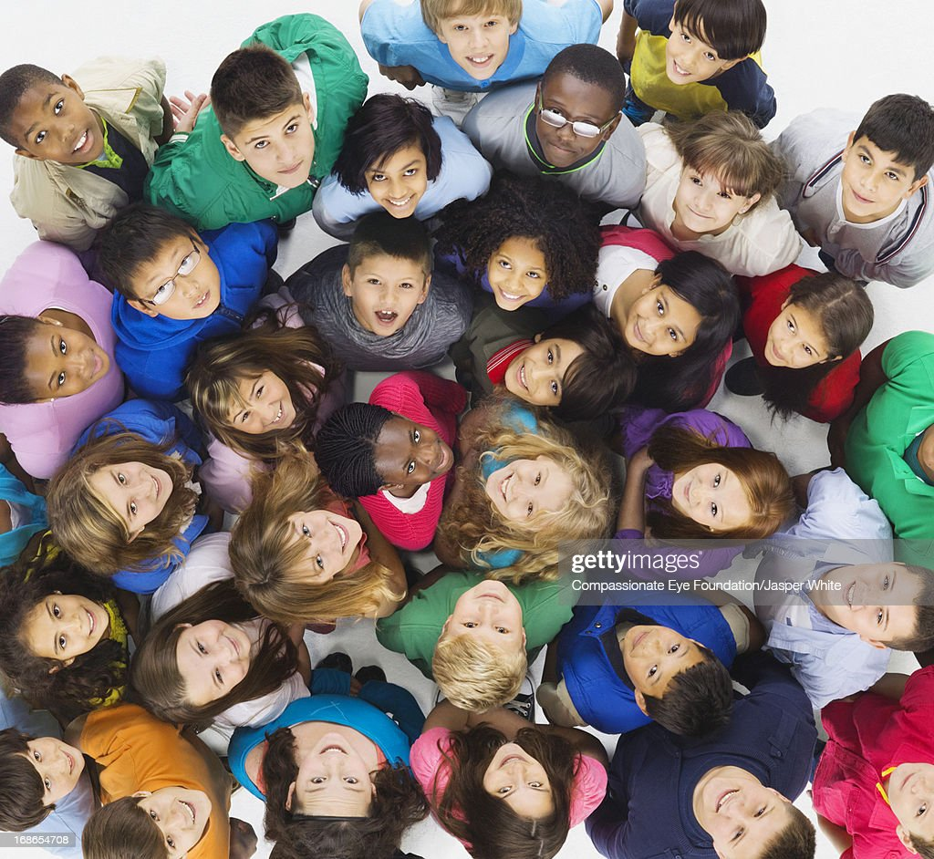 Aerial view of group of smiling children : Stock Photo