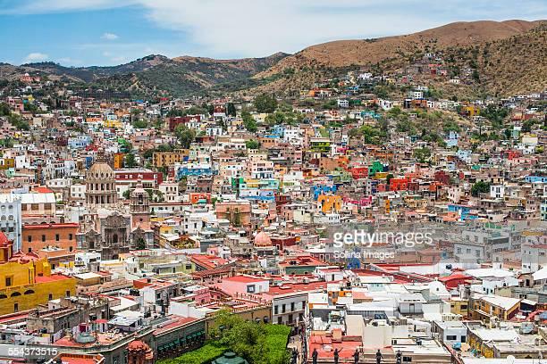 Aerial view of Guanajuato cityscape, Guanajuato, Mexico
