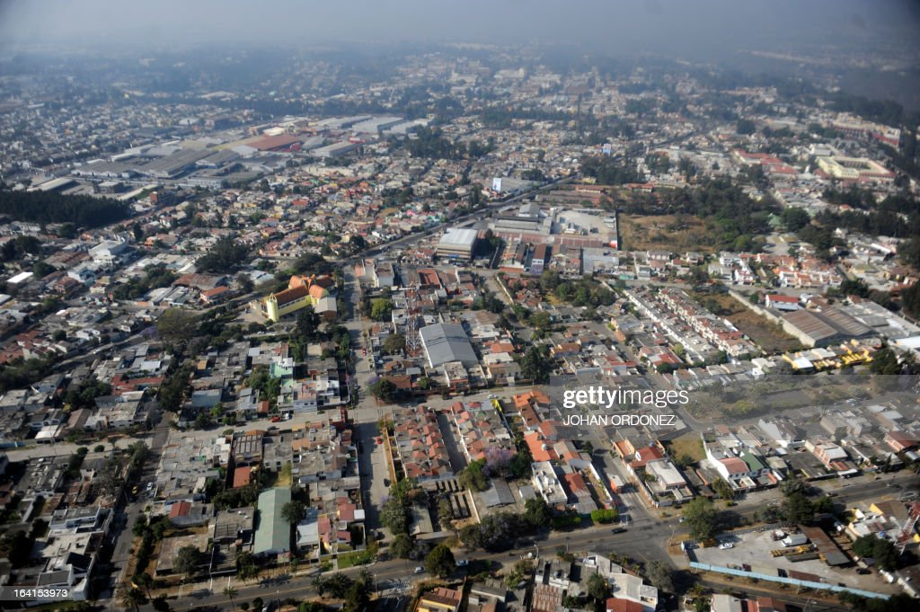 Aerial view of Guatemala City on March 20, 2013. AFP PHOTO/Johan ORDONEZ