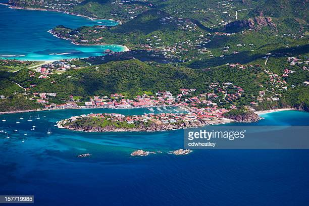 aerial view of Gustavia in St. Barths, French West Indies