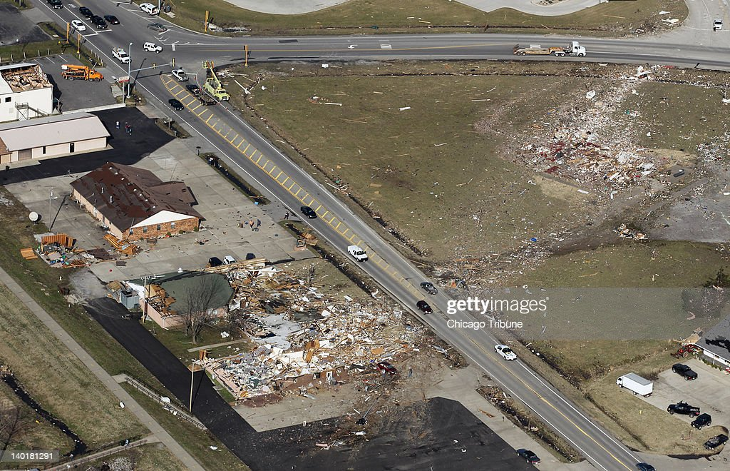 Aerial view of Harrisburg, Illinois, following a tornado Wednesday, February 29, 2012, that killed at least 6 people.