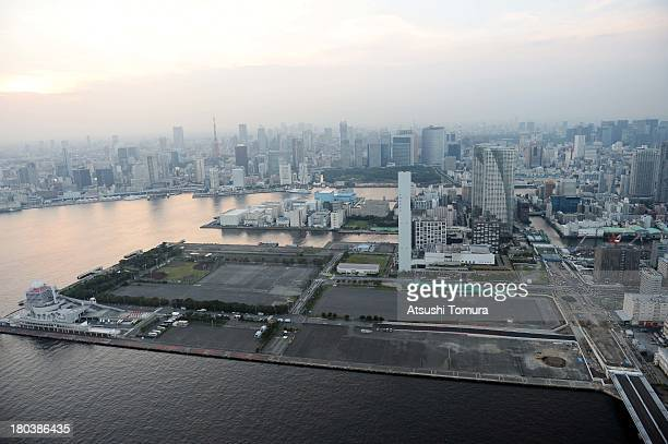 Aerial view of Harumi area which will host the Athletes Village during the Tokyo 2020 Olympic Games on September 12 2013 in Tokyo Japan Tokyo was...
