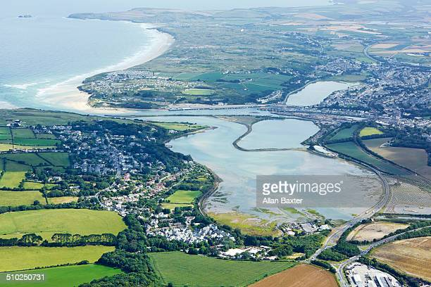 Aerial view of Hayle estuary near St Ives