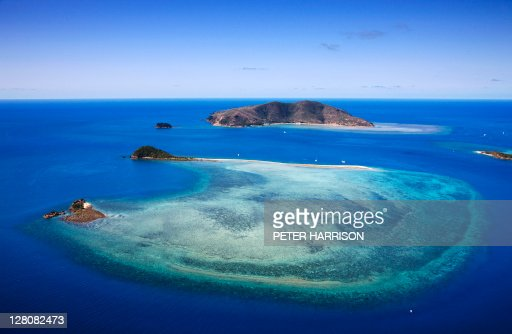 Aerial view of Hayman Island and Langford Reef, Whitsundays, Queensland.