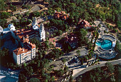 Aerial view of Hearst Castle a National and California Historical Landmark mansion located on the Central Coast of California United States circa...