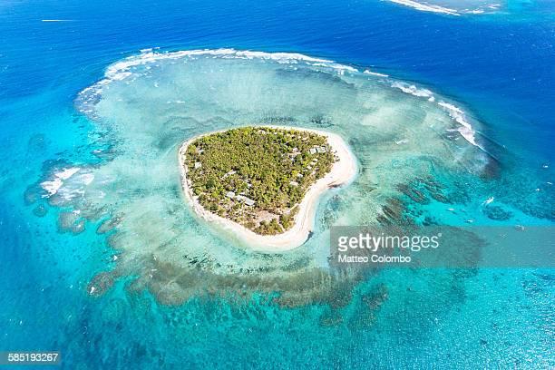 Aerial view of heart shaped island Tavarua, Fiji