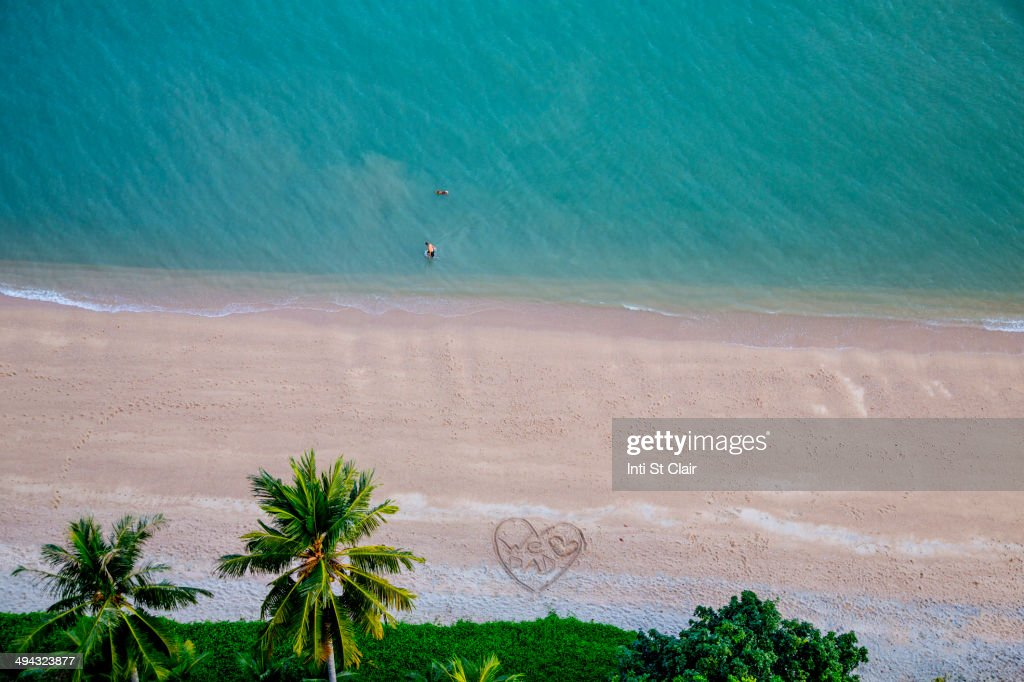 Aerial view of heart-shape on tropical beach : Stock Photo
