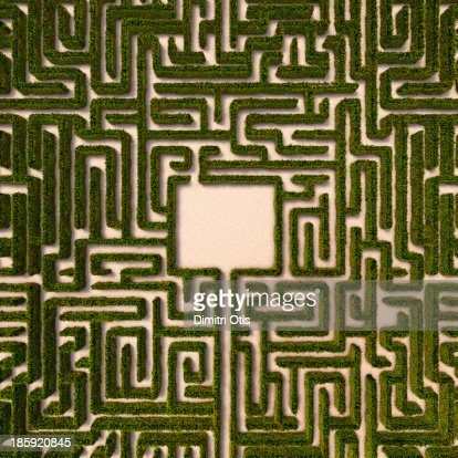 Aerial view of hedge maze with path to centre