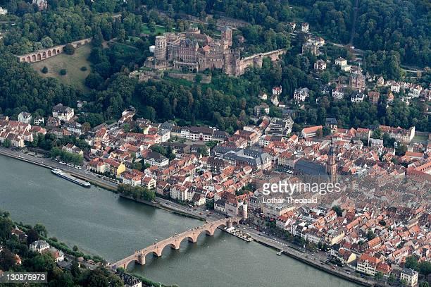 Aerial view of Heidelberg, Baden-Wuerttemberg, Germany, Europe