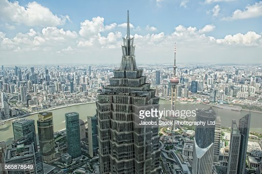Aerial view of highrise buildings in Shanghai cityscape, Zhejiang, China