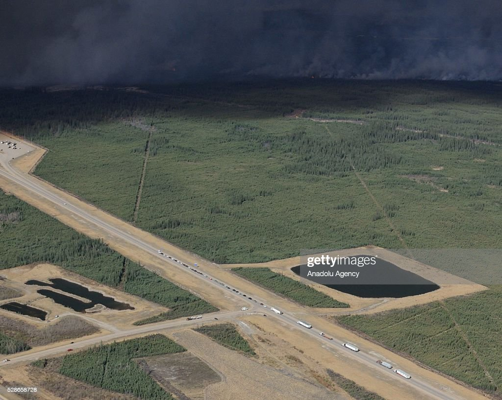 Aerial view of highway 63 south of Fort McMurray taken from a CH-146 Griffon helicopter on May 5, 2016. The Canadian Armed Forces have air assets deployed in support of the Province of Alberta's wildfire emergency response efforts.