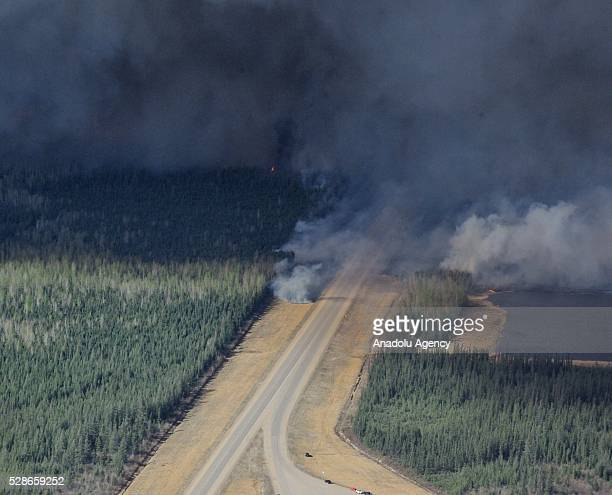 Aerial view of highway 63 south of Fort McMurray taken from a CH146 Griffon helicopter on May 5 2016 The Canadian Armed Forces have air assets...