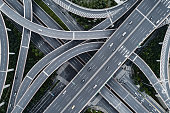 Aerial view of highway and overpass in city
