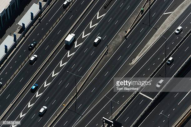 Aerial view of highway and traffic, Port Melbourne, Melbourne, Victoria, Australia