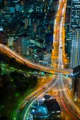 Aerial view of highway at night, Tokyo, Japan.