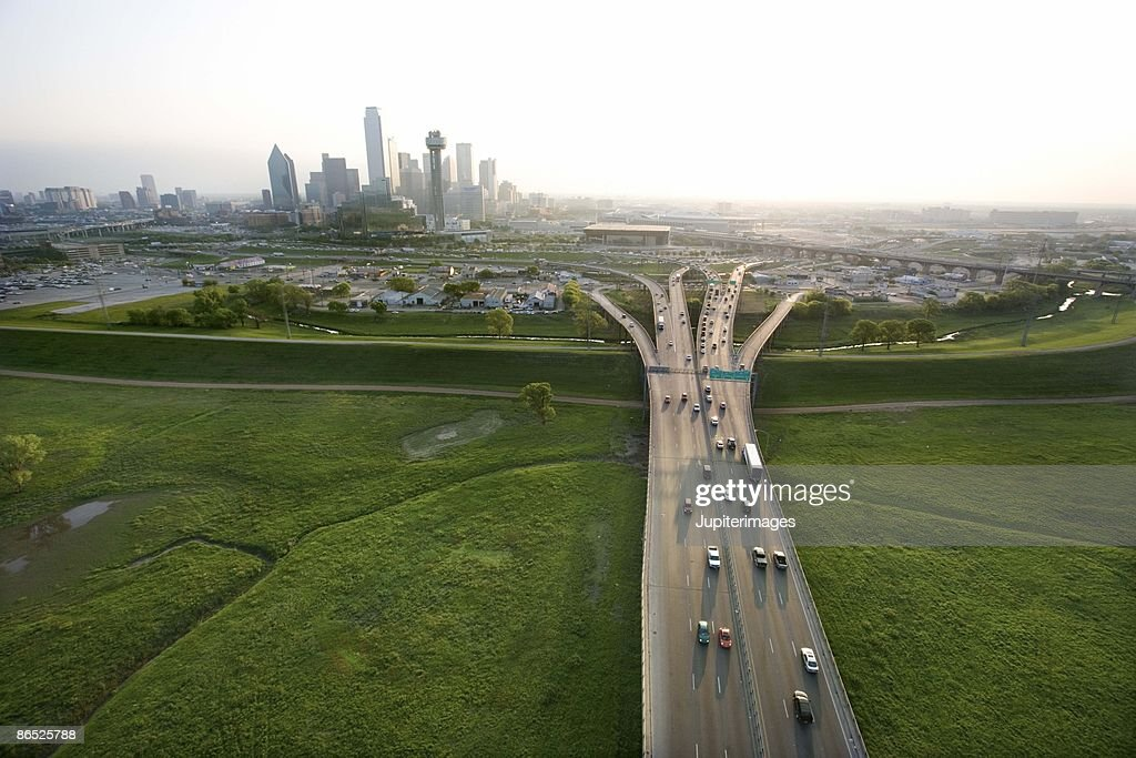 Aerial view of highway in Dallas, Texas