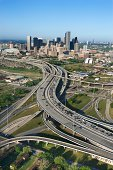 Aerial view of highway in Houston, Texas