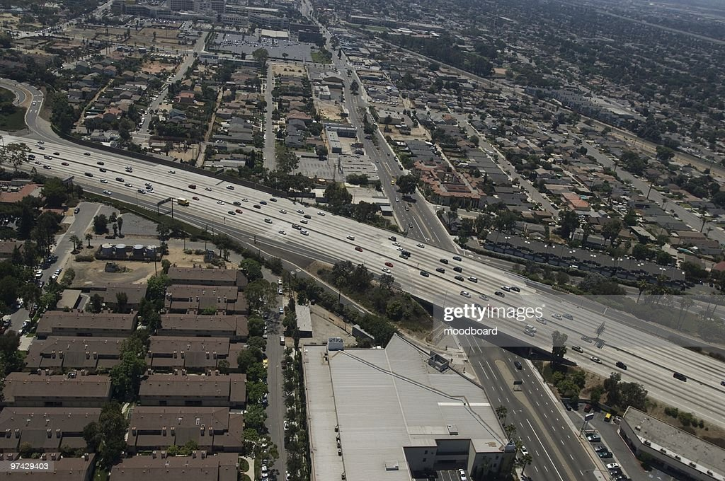 Aerial view of Highway in Los Angeles : Stock Photo