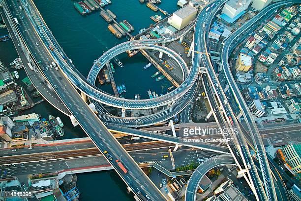 Aerial view of highway, Minato Ward, Osaka Prefecture, Honshu, Japan