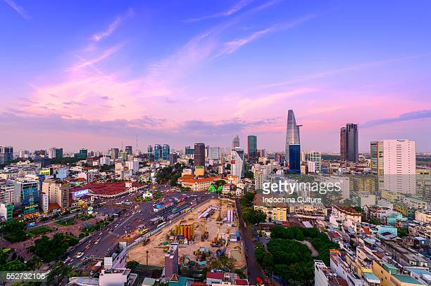 Aerial view of Ho Chi Minh city at twilight