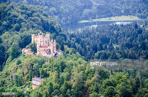 Aerial view of Hohenschwangau castle, Bavaria, Germany