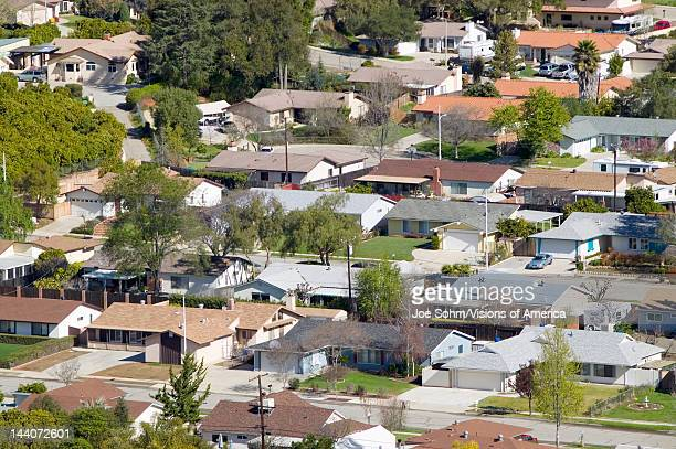 Aerial view of homes in subdivision in Oak View Ventura County California
