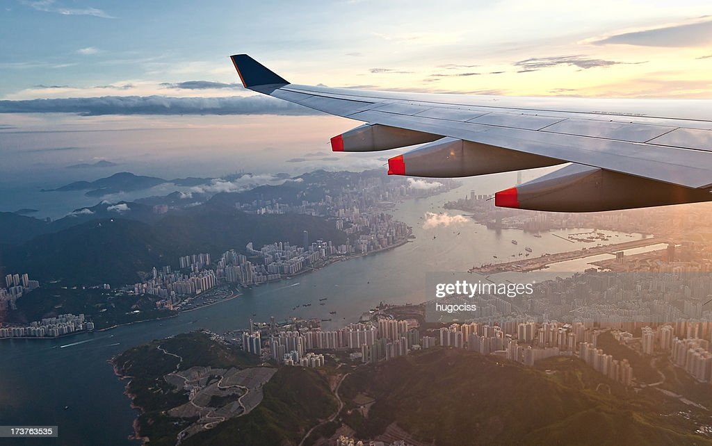 Aerial view of Hong Kong and Kowloon