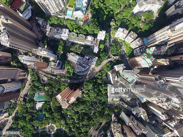 Aerial view of Hong Kong City