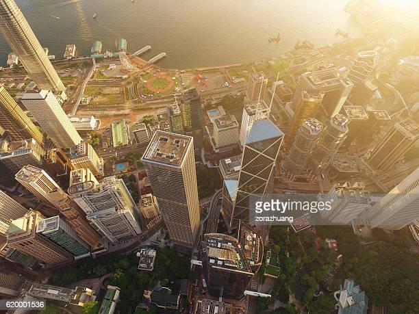 Aerial view of Hong Kong Skyscraper in sunset