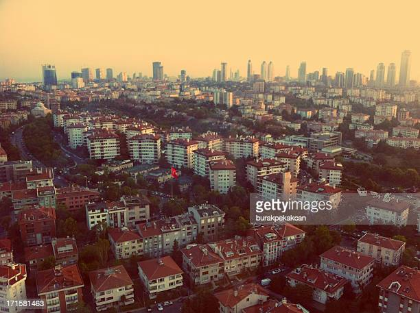 Aerial view of Houses and Skyscrapers from Etiler, Istanbul, Turkey