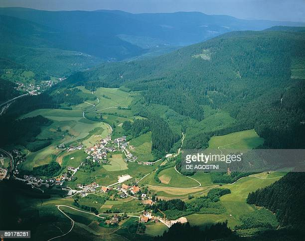 Aerial view of houses in a valley Klosterreichenbach Black Forest Germany