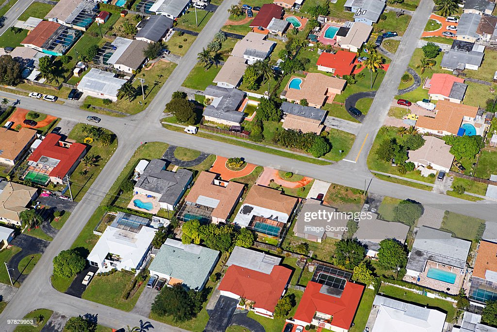 Aerial view of houses on florida east coast