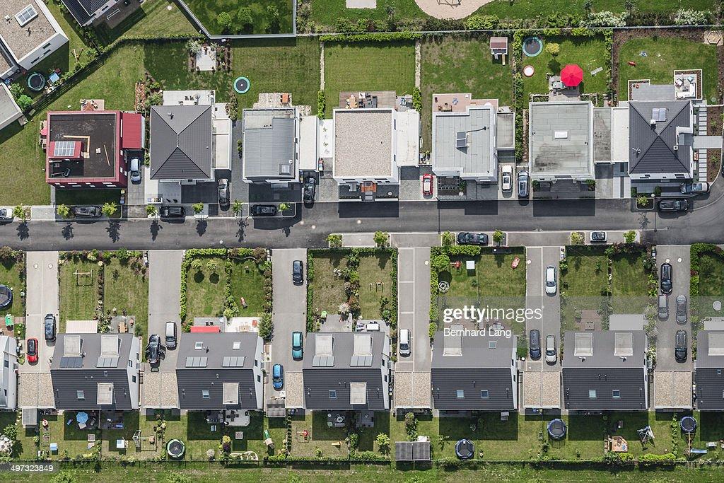 Aerial view of housing development : Stock Photo