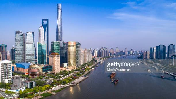 Aerial view of HuangPu river Shanghai