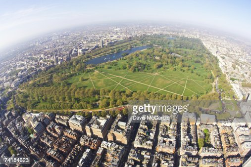 'Aerial view of Hyde Park in London, England' : Stock Photo