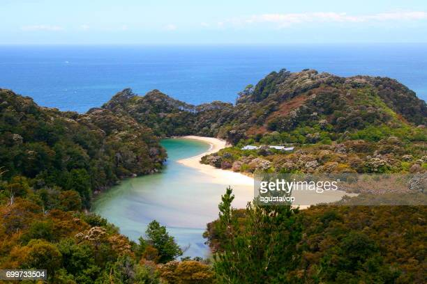 Aerial view of Idyllic Abel Tasman bay landscape, Tasman and Golden bay from above, South New Zealand panorama