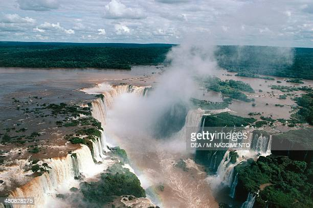 Aerial view of Iguacu or Iguazu waterfalls Iguazu National Park Brazil Argentina