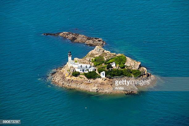 Aerial view of 'ile Louet' island off Carantec