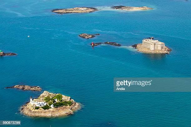 Aerial view of 'ile Louet' island off Carantec view over the 'chateau du taureau' castle