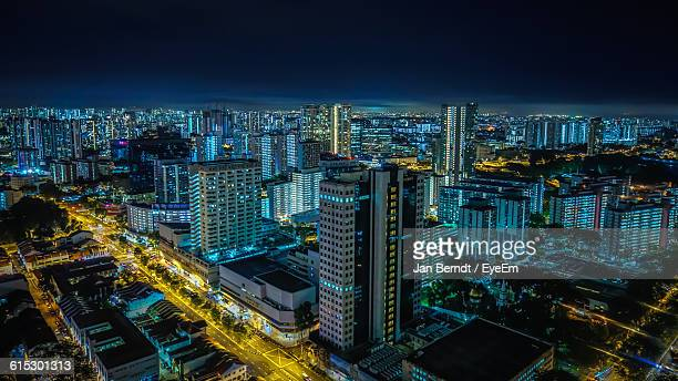 Aerial View Of Illuminated Buildings At Night