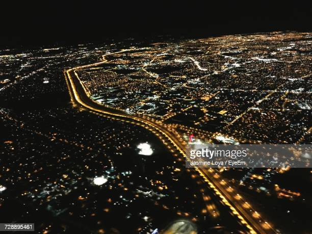 Aerial View Of Illuminated City At Night