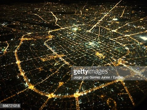 Aerial View Of Illuminated City During Night