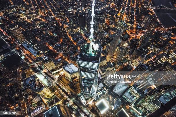 Aerial View Of Illuminated One World Trade Center At Night
