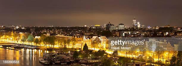 Vue aérienne sur les rues de nuit, Amsterdam, VUE PANORAMIQUE